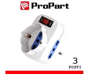 Adattatore 3pos bipasso/schuko spina10A rotante + inter.